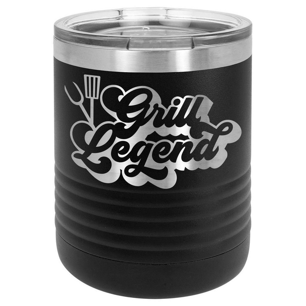 GRILL LEGEND-B 10 oz Lowball Tumbler with Lid