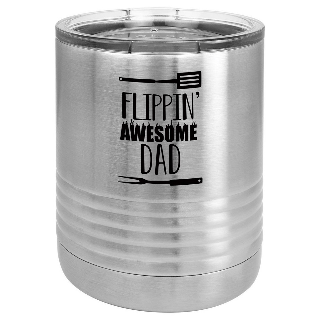 FLIPPIN AWESOME DAD 10 oz Lowball Tumbler with Lid