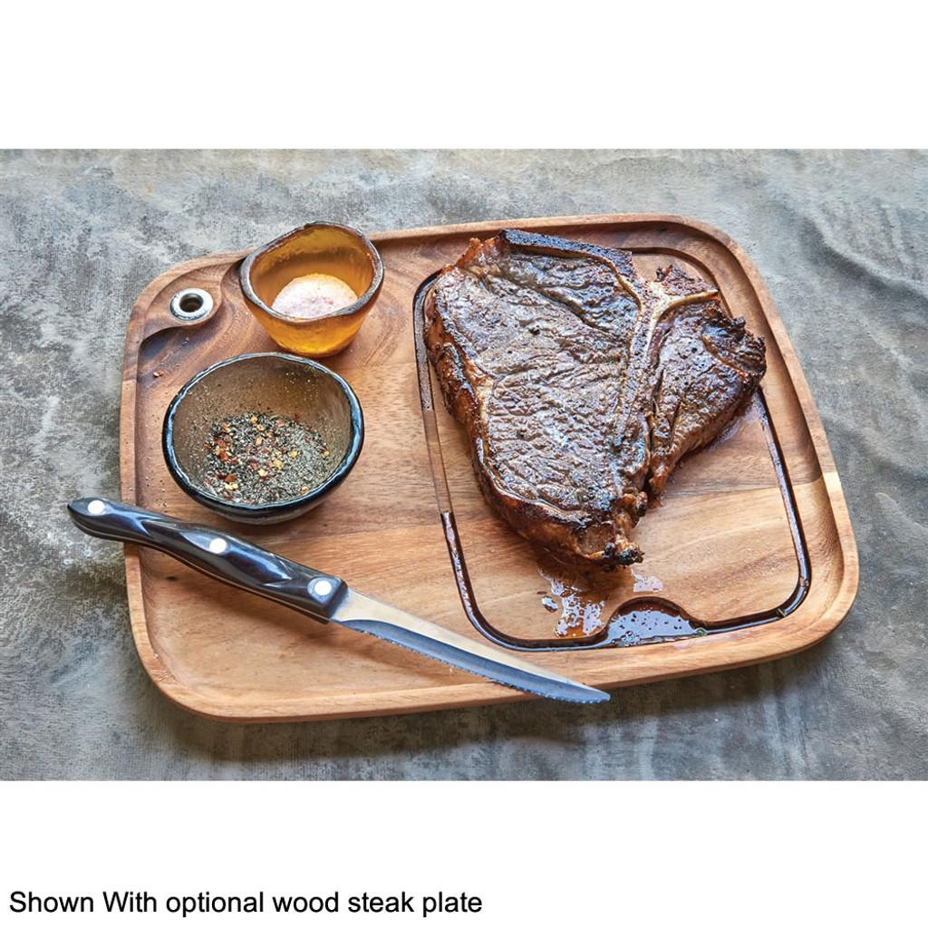 Optional wood barbecue steak plate