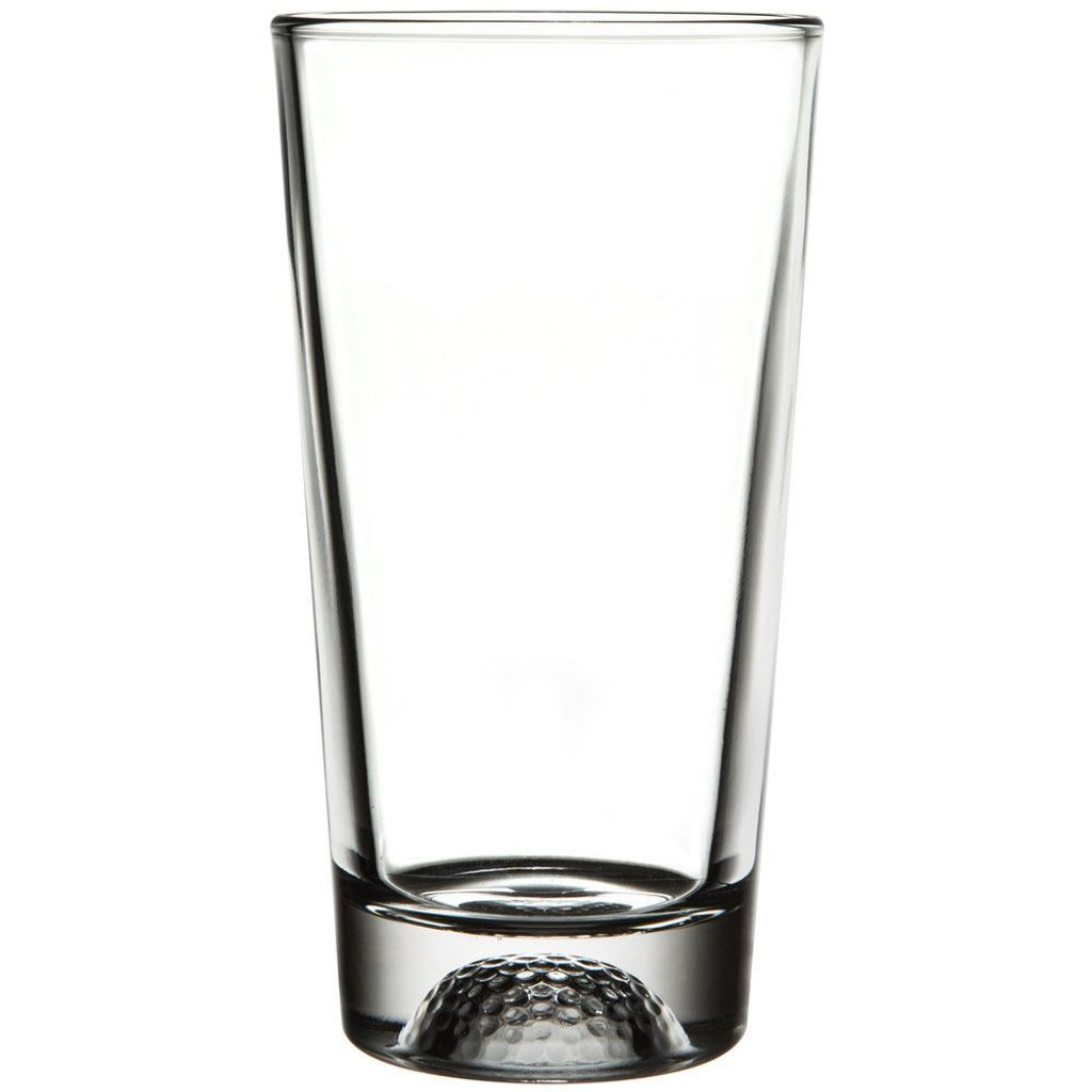 Closeup of golf design on beer glass