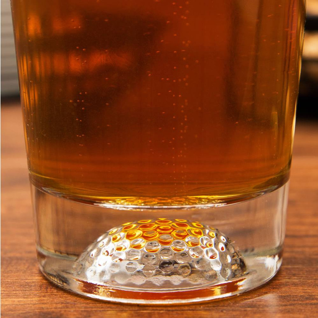 Golf beer glass closeup
