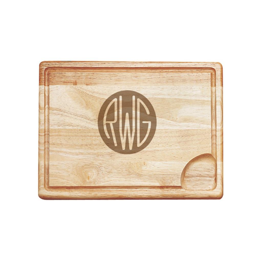 Solid Circle Monogram Carving Board