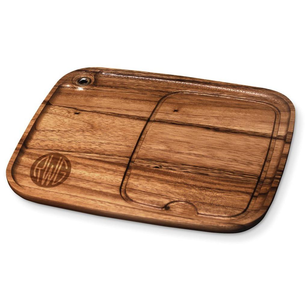 Solid Circle Monogram Wood Steak Plate