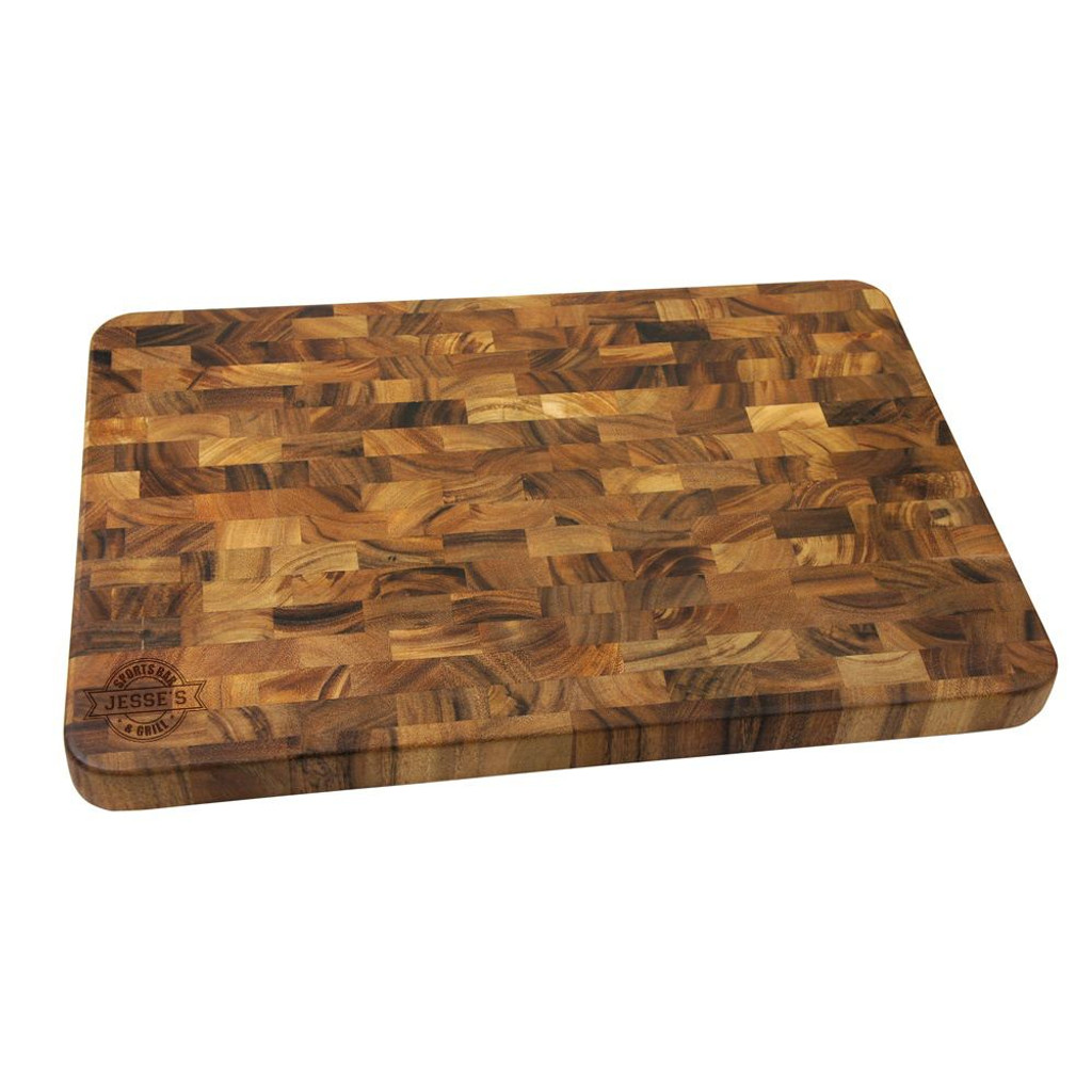Sports Bar Personalized Large End Grain Cutting Board