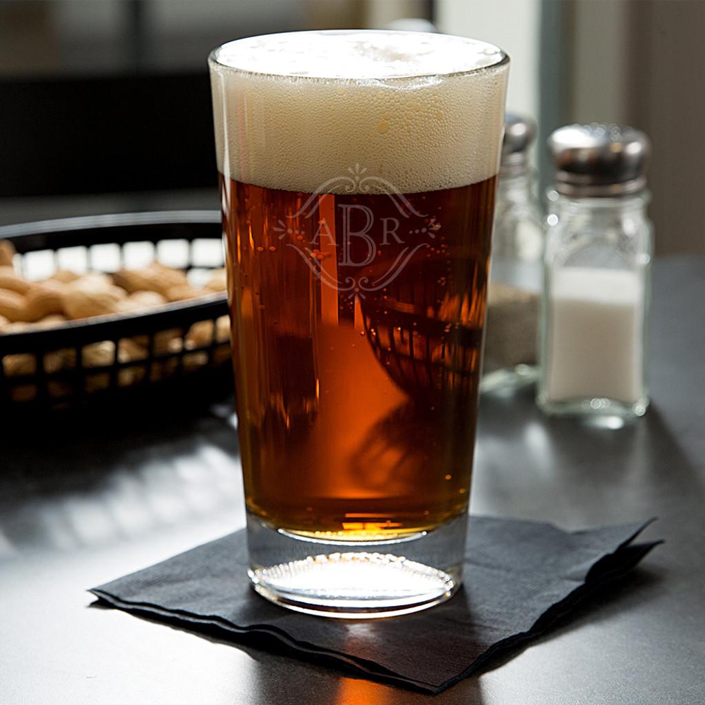 Vintage Monogram Football Beer Glass