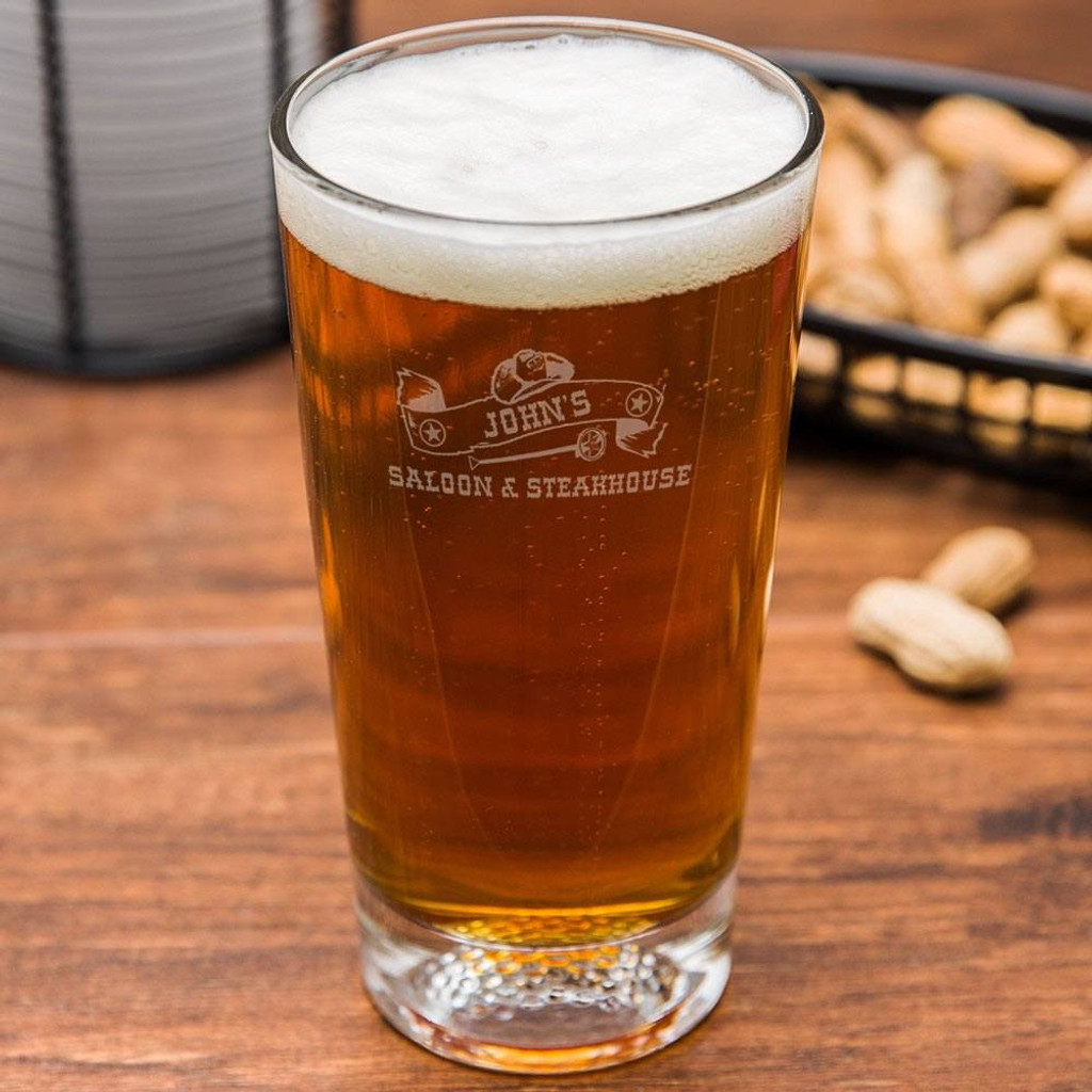 Western Saloon Personalized Golf Beer Glass