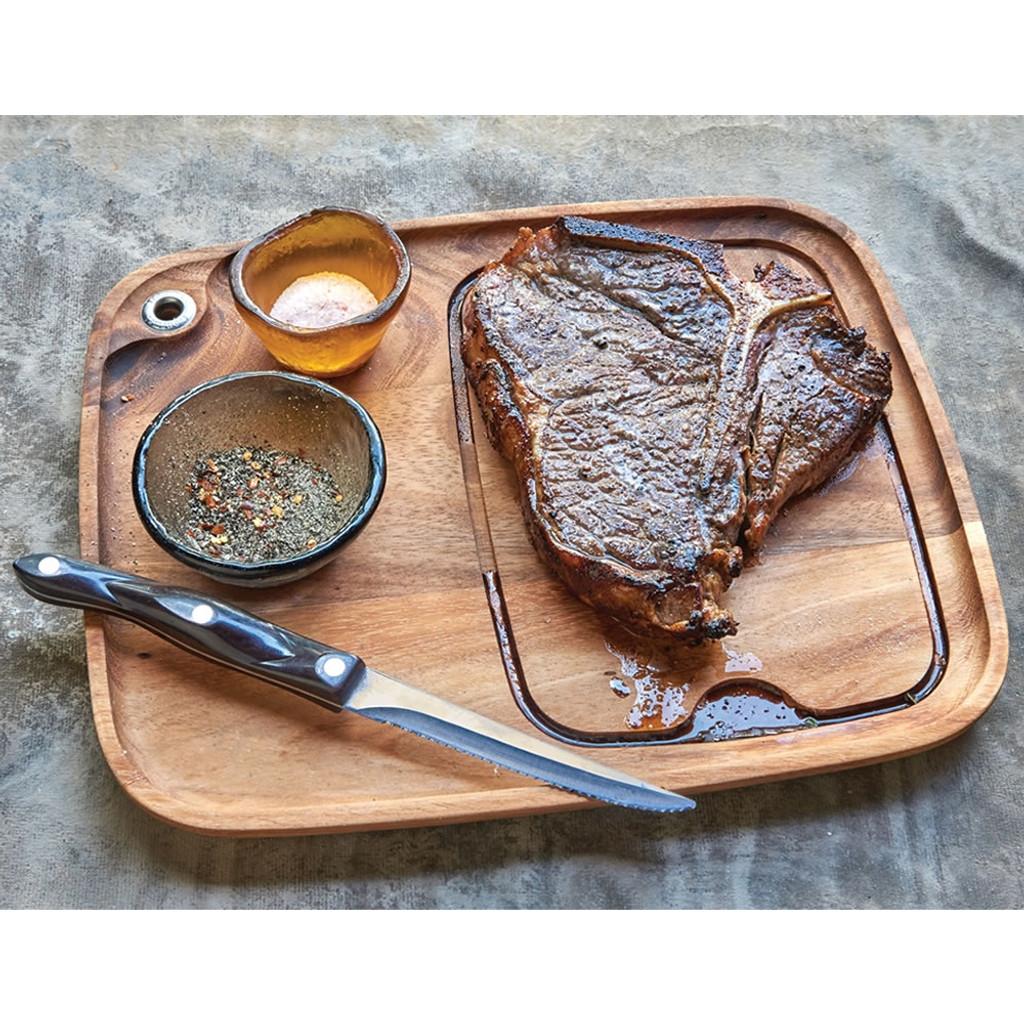 Wood steak barbecue plate