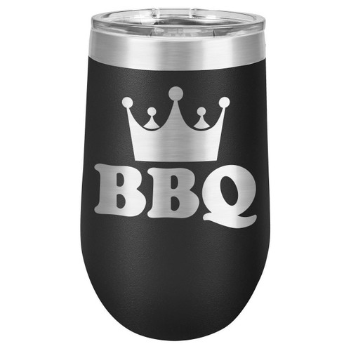 BBQ KING 16 oz Stemless Wine Glass with Lid
