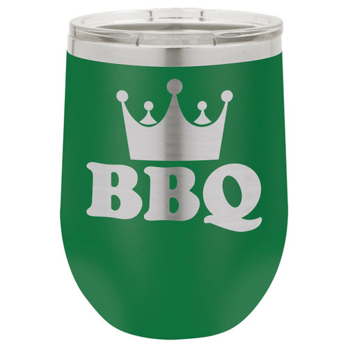 BBQ King 12 Oz Stemless Wine Glass with Lid