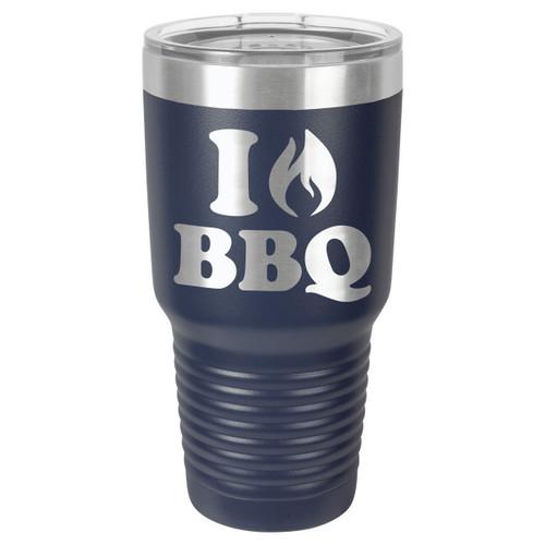 I LOVE BBQ 30 oz Drink Tumbler With Straw