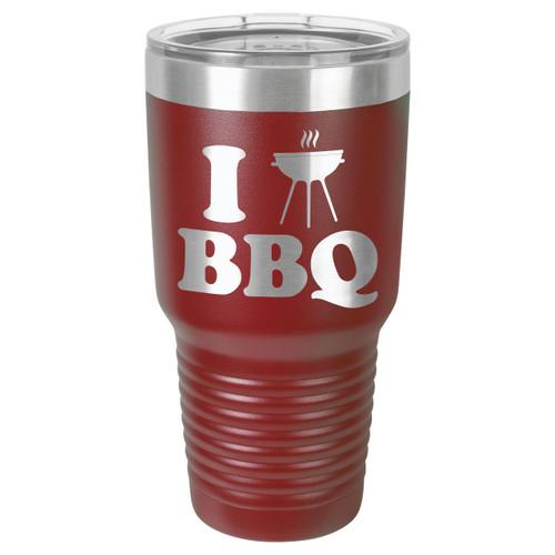 I LOVE BBQ-B 30 oz Drink Tumbler With Straw