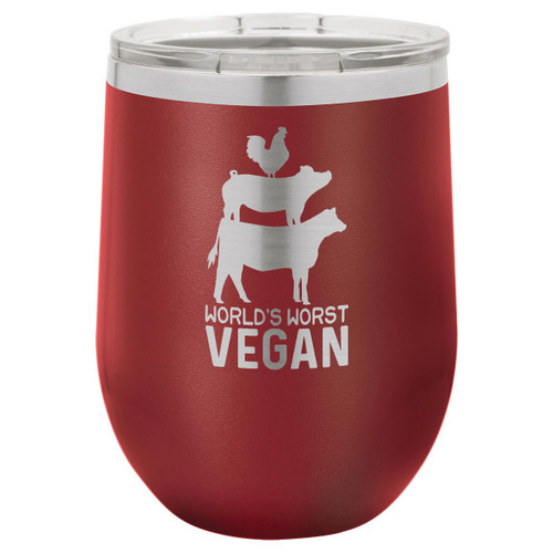 Worlds Worst Vegan 12 Oz Stemless Wine Glass with Lid
