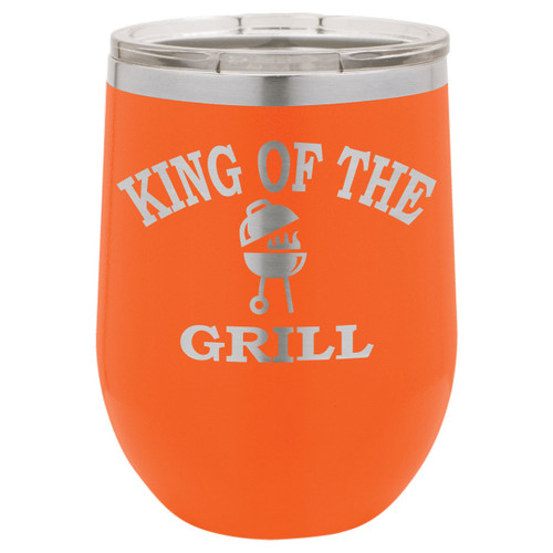 King Of The Grill 12 Oz Stemless Wine Glass with Lid