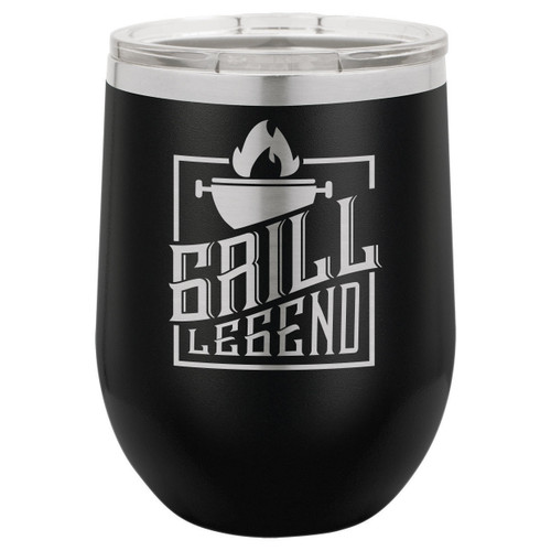 Grill Legend 12 Oz Stemless Wine Glass with Lid