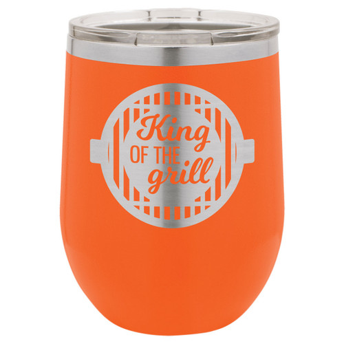 King Of The Grill-B 12 Oz Stemless Wine Glass with Lid