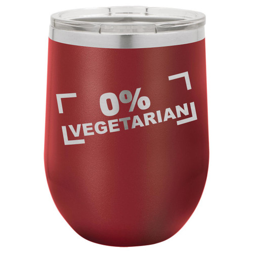 Zero Percent Vegetarian 12 Oz Stemless Wine Glass with Lid