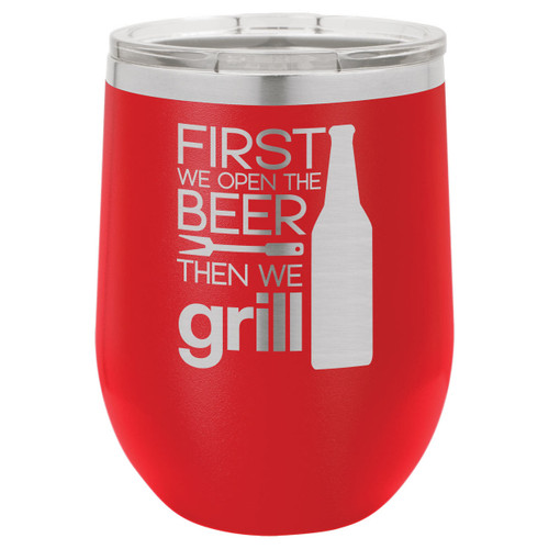 Grill Things 12 Oz Stemless Wine Glass with Lid