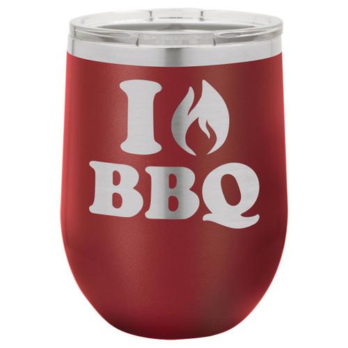 I Love BBQ 12 Oz Stemless Wine Glass with Lid