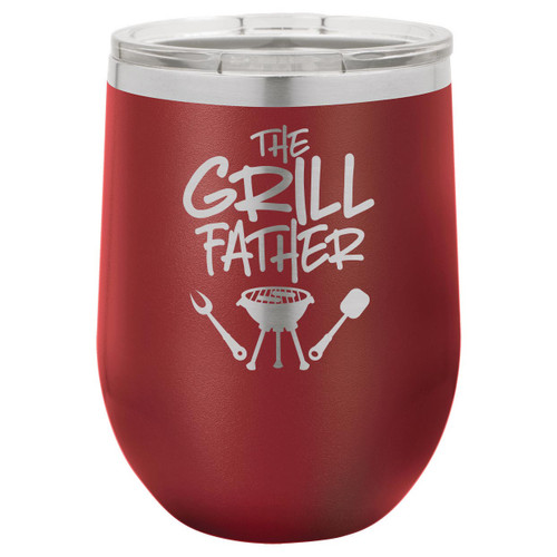 The Grillfather-B 12 Oz Stemless Wine Glass with Lid