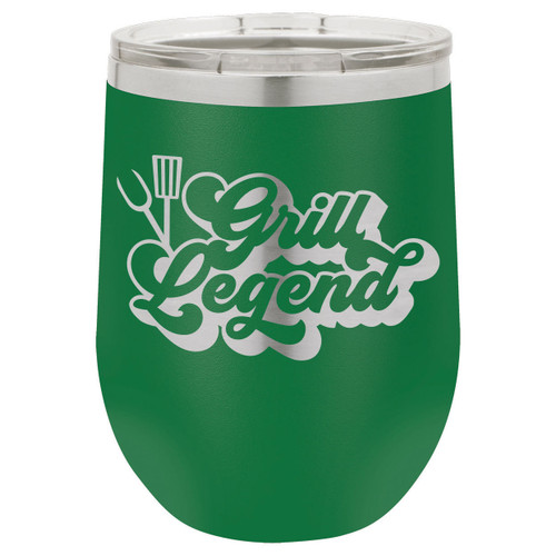 Grill Legend-B 12 Oz Stemless Wine Glass with Lid