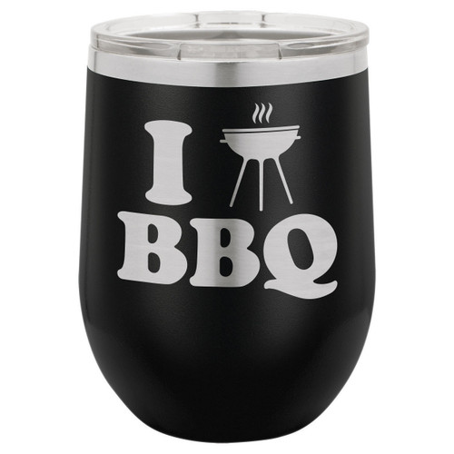 I Love BBQ-B 12 Oz Stemless Wine Glass with Lid