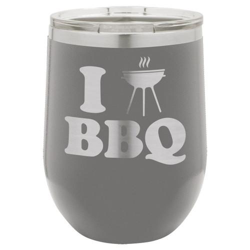 I Love BBQ-B 12 Oz Stemless Wine Glass with Lid