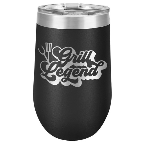 GRILL LEGEND-B 16 oz Stemless Wine Glass with Lid