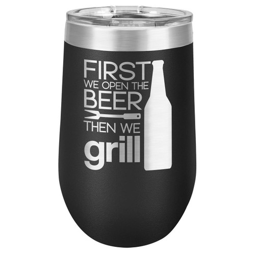 GRILL THINGS 16 oz Stemless Wine Glass with Lid