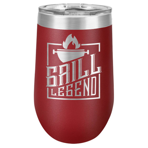 GRILL LEGEND 16 oz Stemless Wine Glass with Lid
