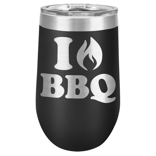 I LOVE BBQ 16 oz Stemless Wine Glass with Lid