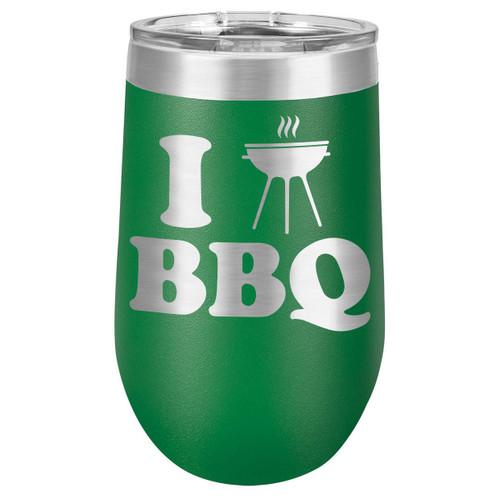I LOVE BBQ-B 16 oz Stemless Wine Glass with Lid
