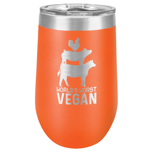 WORLDS WORST VEGAN 16 oz Stemless Wine Glass with Lid