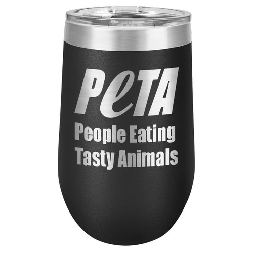 PEOPLE EATING TASTY ANIMALS 16 oz Stemless Wine Glass with Lid