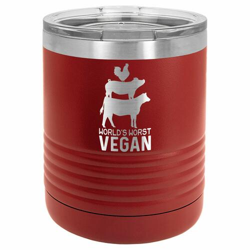 WORLDS WORST VEGAN 10 oz Lowball Tumbler with Lid