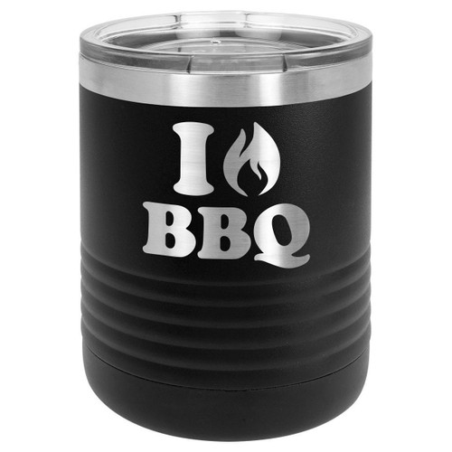 I LOVE BBQ 10 oz Lowball Tumbler with Lid