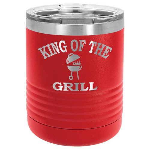 KING OF THE GRILL 10 oz Lowball Tumbler with Lid
