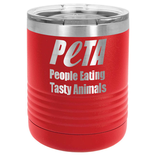 PEOPLE EATING TASTY ANIMALS 10 oz Lowball Tumbler with Lid