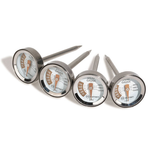 Outset Stainless Steel Steak Thermometers - Set Of 4