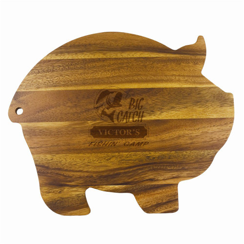 Big Catch Fishin' Camp Wood Pig Cutting Board