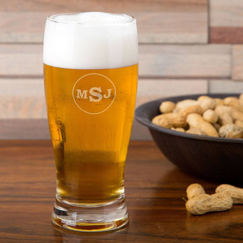 Circle Monogram Pilsner Glass