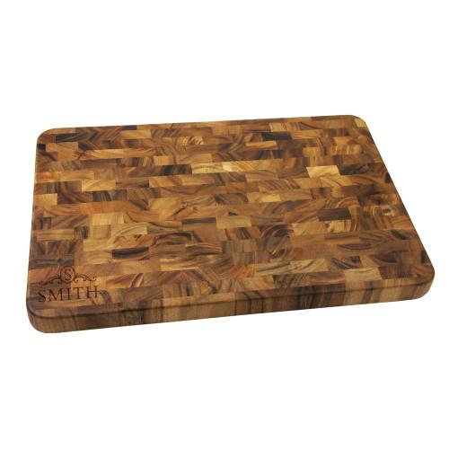 Langham Monogram Large End Grain Cutting Board