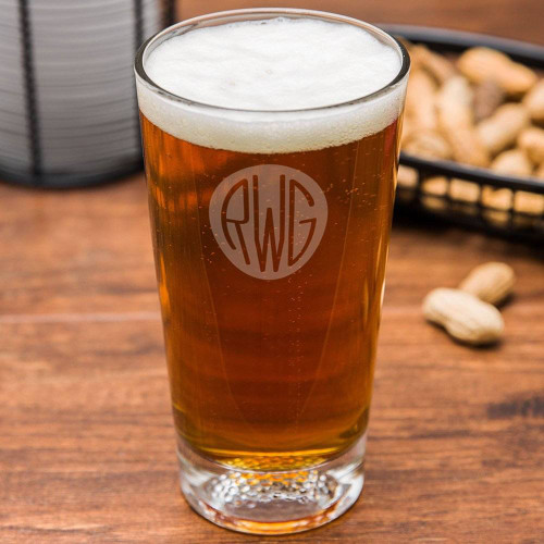 Solid Circle Monogram Golf Beer Glass