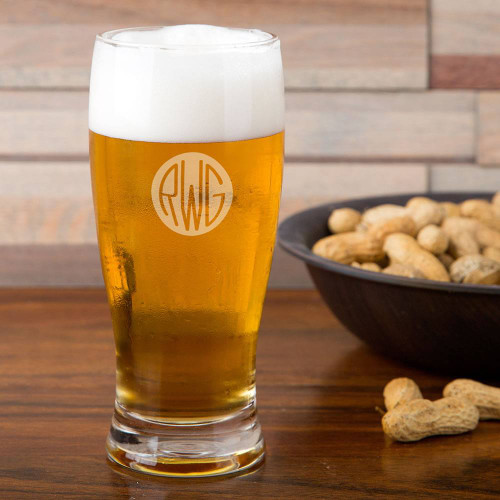 Solid Circle Monogram Pilsner Glass