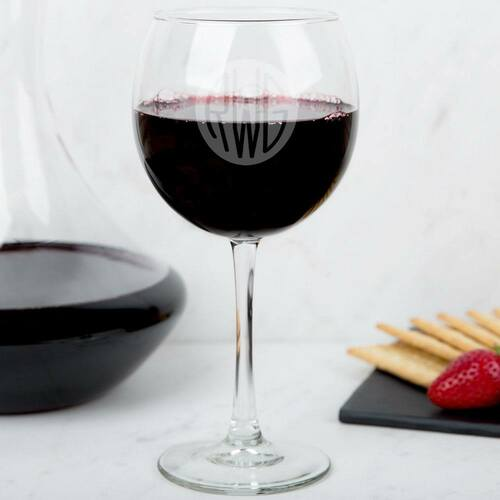 Solid Circle Monogram Wine Glass