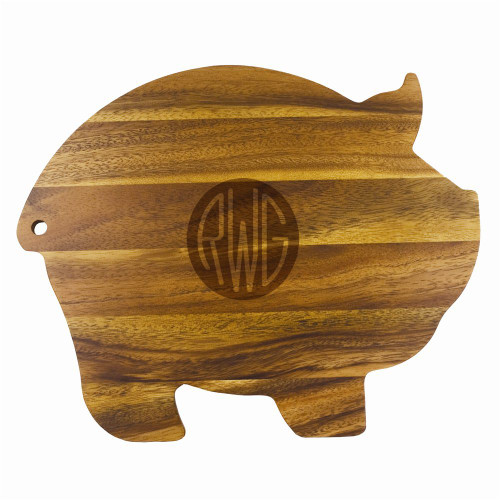Solid Circle Monogram Wood Pig Cutting Board
