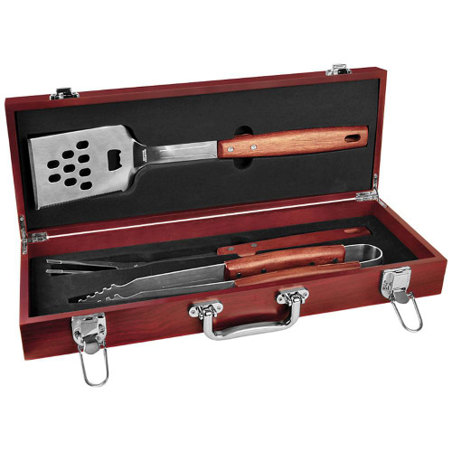 3-Piece BBQ Set in Rosewood Finish Case