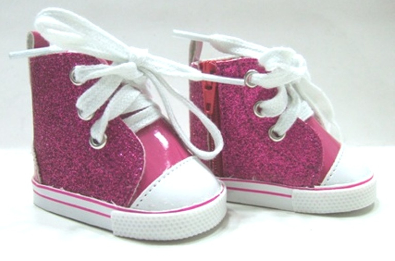Hot Pink Glitter Tennis Shoes for