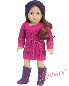 Hot Pink Sweater Dress With Purple Muff Headband