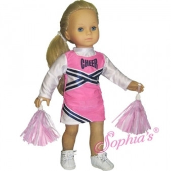 Pink and Navy Cheer Outfit With Pom Poms