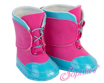 Hot Pink And Blue Snow Boots For Your American Girl Doll